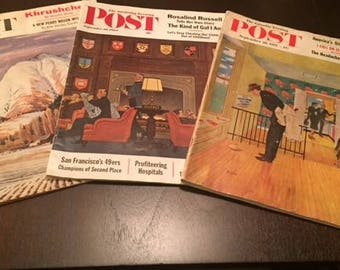 3 Saturday Evening Post Magazines, 1957, 1958, 1962, Vintage Magazines, Retro Magazines, Vintage Prints
