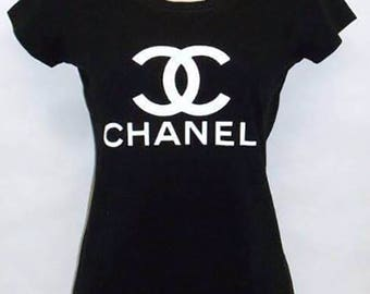 Chanel Black Fitted T Shirt Top New (inspired top)