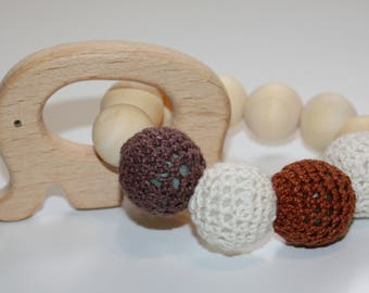 Elephant teething ring / Sensory baby toy / Wooden elephant teether / infant toy / Chewable beads / Crochet teething