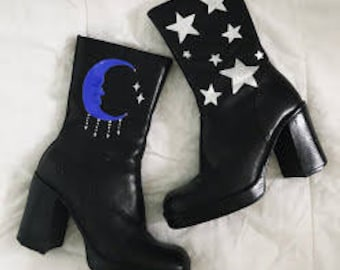 Moon and Stars Hand-Painted Chunky Ankle Boots
