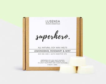SUPERHERO | 9 wax melts | Lemongrass, Rosemary & Mint | all natural - eco soy wax + 100% pure essential oils