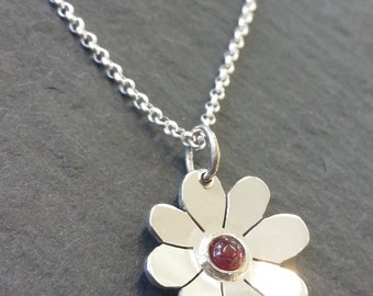 July Ruby Birthstone Flower Pendant