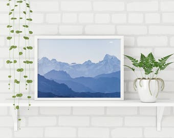 Mountains Art Print, Mountains Landscape Print, Mountain Wall Art, Blue Mountain Print, Blue Gradient Print, Scandinavian Wall Art