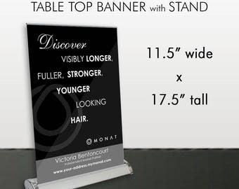 Monat Table Top Banner with Stand - Black with White Design -PRINTED and SHIPPED directly to YOU!