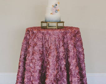 Blush Rosette Tablecloth |  Rosette Table Linen | Vintage Wedding Table Linen | Vintage Tablecloth | Mauve Wedding| Lace overlay |Wedding