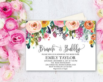 Brunch and Bubbly, Floral Bridal Shower Invitation, Bridal Brunch, Instant Download, Flower Bridal Card, Boho Bridal Brunch, Printable  BB08