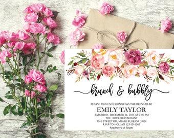 Brunch and Bubbly, Floral Bridal Shower Invitation, Bridal Brunch, Instant Download, Flower Bridal Card, Boho Bridal Brunch, Printable  BB18