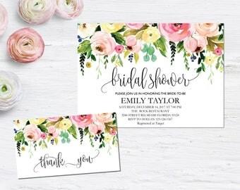 Bridal Shower Invitation, Printable Bridal Shower, Bridal Shower Template, Instant Download File, Flower Bridal Shower Gift, Bridal F-01