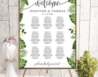 Tropical Wedding Seating Chart Template, Seating Chart Printable, Wedding Seating Plan, seating chart greenery, wedding seating chart, #147