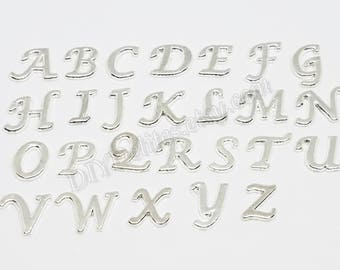 26 Pc Set Letter Floating Charms, Alphabet Floating Memory Charms, Silver Toned Letters, Living Memory Charm, Locket Charm, A to Z Letters