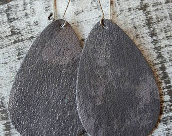 Dark Gray and Silver Shimmer Leather Earrings