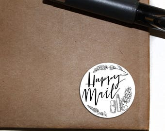 Happy Mail Stickers - Letter Seals - flower - circle sticker - essential oil - 2.5 inch round