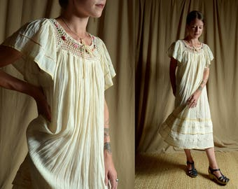 1970's Mexican Boho Hippie Dress / Embroidered Lace Ruffle Sheer Gauzy Midi Dress / Vintage Wedding Dress / size XS - small - med - large