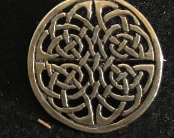 Vintage Sterling Silver Celtic Pattern Brooch MArked