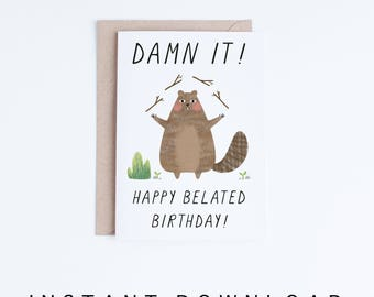 Resource image within printable belated birthday cards