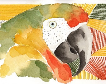 Embroidered Green Parrot. Original Watercolor