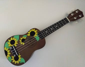Hand Painted Ukulele - Sunflower Theme