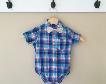 18 Month Tushie Cushie Long Sleeve Button Onesie + Bow Tie