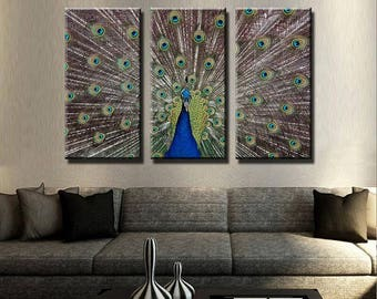 Bon Peacock Show Canvas Set | Animal Canvas Set | Animal Poster | Animal Wall  Decor|