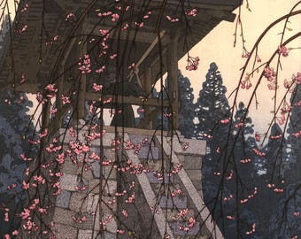 "Japanese Art Print ""Heirinji Temple Bell"" by Yoshida Toshi, woodblock print reproduction, asian culture, sakura, landscape, cherry blossoms"