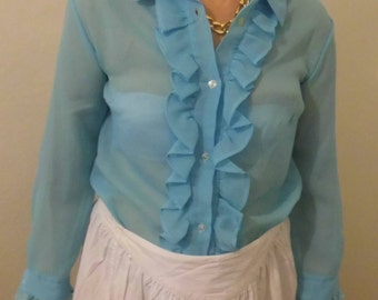 Shirt has ruffled turquoise / S 60