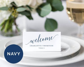 Navy Wedding Place Card Template | Printable Wedding Place Card | Editable Wedding Place Card | DIY Wedding Place Card | Wedding Escort Card