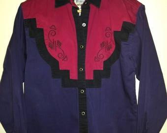 Rockabilly VTG 80s Wrangler Western Wear Cowgirl Button Down Prairie Shirt