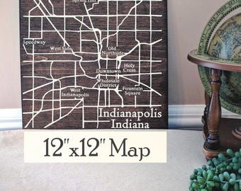 Indianapolis Map, Large Wood Map, Indianapolis Wall Art, Indianapolis Wood Map, Custom Gift, Personalized Map, Custom City Map by Novel Maps