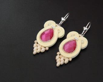 Soutache vanilla earrings