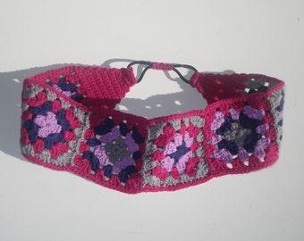 Women's Crochet Headband, Pink Cotton Headband, Women's Headband, Girls Headband, Granny Square Headband, Hippie Headband, Boho Headband