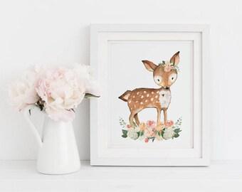 Printable Art, Woodland Animal Art, Girl Nursery Wall Art, Inspirational Print, Floral Print, Girls Room Decor, Deer Art, Instant Download