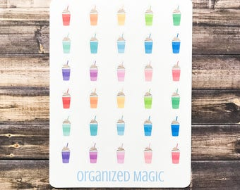 iced coffee planner stickers, shake stickers, smoothie stickers, coffee date stickers, drink stickers