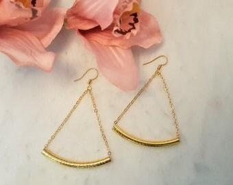 Bar earrings, curved bar earrings, Triangle Earrings, triangle bar earrings, handmade earrings, dangle earrings, chain earrings, gift