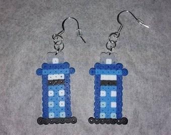 Tardis Perler Bead Earrings