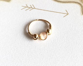 Unique gold cartilage hoop earring, Gold hoops, Small helix ring, 20g 10mm beaded hoop, 14k gold filled, Piercing jewelry for women, Gift