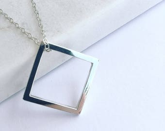Handmade Sterling Silver Square Pendant Necklace