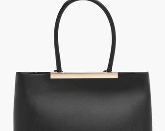 Metal Trim Crosshatch Tote Bag - Structured Crosshatch Bar Tote Bag