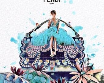 Fendi Fashion Print (FendiKanI Fashion Illustration) (JeanetteAw Fashion Illustration)