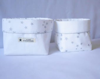 Set of 2 baskets stars silver
