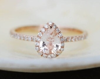 Pear Engagement Ring Promise ring Round Engagement Ring Peach Sapphire Engagement ring rose gold ring by Eidelprecious FREE Shipping