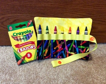 """FREE US SHIPPING, Crayon roll up storage with yellow trim, Crayon carry case, snap close Crayon roll, multiple colors available, 5"""" x 5.75"""""""