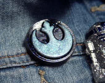 Rebel Logo Pin White and Black Badge Sigil Brooch Glitter Resin