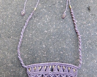 Macrame necklace lilac