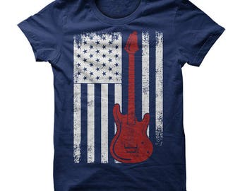 Guitar shirt, guitar tshirt, guitar shirts, guitar t-shirt, american flag guitar shirt, American Guitar Flag, Guitar American Flag T-Shirt