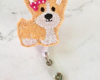 Nursing Dog Badge Reel- Corgi Badge Reel - Vet Tech Badge Reel - Retractable Badge ID Holder - Animal Lover - Veterinary - Animal Rescue