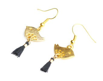 Golden bird and black tassel earrings