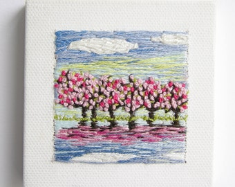 Cherry Blossoms Reflection | Wall Art | Home Decor | Embroidery  | Minimalism | Tiny Art | Hand Embroidered