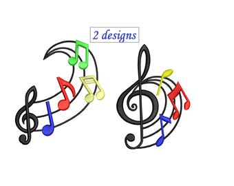 Music Notes Embroidery Design - 2 designs 3,4,5,6 inch size instant download