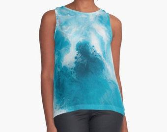 Original Art Print Contrast Tank Top Shirt - Blueberry
