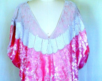Vintage Pink Sequined Blouse
